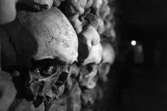 Catacombs Paris. Skulls wall in Paris Catacombs Royalty Free Stock Photos