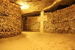 Catacombs of Paris. Underground ossuaries in Paris, the capital of France. Ossuaries hold the remains of about six million people and fill a renovated section Stock Images