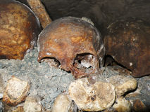 Catacombs Skull. A hyuman school is highlighted against thousands of other bones in the ossuary of the Catacombs under the streets of Paris, France. This skull Stock Image