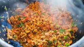 Catado de siri: brazilian food made of crab meat in a clay pot with smoke coming out. Catado de siri: brazilian food made of crab meat in a clay pot with smoke royalty free stock photography