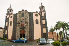 Catafalque at old spanish church on overcast day Stock Photo