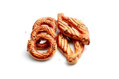 Catal and simit. Turkish flour products on white background Royalty Free Stock Images