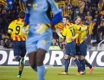Catalaanse spelers die een doel vieren royalty-vrije stock fotografie