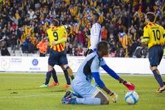 Catalaanse spelers die een doel vieren royalty-vrije stock afbeelding
