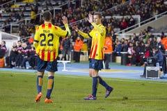 Catalaanse spelers die een doel vieren stock fotografie