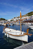 Catalan boat at dock in the Mediterranean sea Royalty Free Stock Images