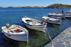 Catalan boats in Costa Brava Stock Images