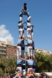 Catalan Castell. Catalan human pyramid (Castell) performed by the Castellers of Poble Sec in the festival of La Sagrada Familia on April 21, 2013 in Barcelona Stock Image