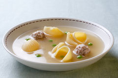 Catalan cuisine. Soup with meat of the pot Royalty Free Stock Photo