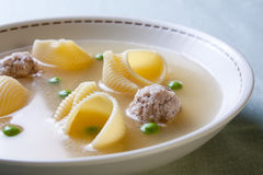 Catalan cuisine. Soup with meat of the pot Royalty Free Stock Image