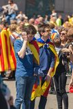 Catalan demonstrators with national catalan symbols in Barcelona to support the freedom of the political prisoners. More than 300.000 people have participated Stock Photos