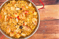 Catalan Fideua. A traditional seafood dish from north east Spain similar to paella but made with short lengths of pasta instead of rice Royalty Free Stock Photography