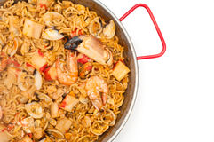 Catalan Fideua. A traditional seafood dish from north east Spain similar to paella but made with short lengths of pasta instead of rice Royalty Free Stock Photos