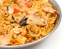 Catalan Fiduea. Catalan Fideua, a traditional seafood dish from north east Spain similar to paella but made with short lengths of pasta instead of rice Royalty Free Stock Photos