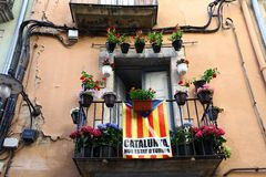 Catalan flag on the balcony of an apartment house Royalty Free Stock Images