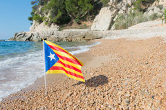 Catalan flag at beach Royalty Free Stock Image