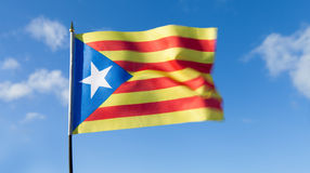 Catalan flag. Catalan flag blowing in the wind Stock Photo