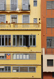 Catalan flag on building facade Stock Photography