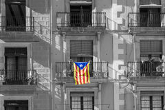 Catalan flag on the facade of the building Royalty Free Stock Photos