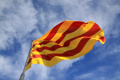 Catalan flag fluttering in the wind Royalty Free Stock Photo