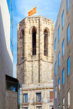 Catalan flag flying on top of the tower of Santa Maria del Pi Royalty Free Stock Photography