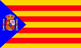 CATALAN FLAG 2 with the Spanish shield the best solution. Not to let a small group stay with you Stock Image