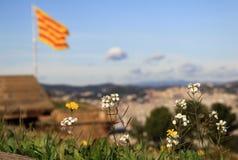 Catalan flagga som fladdrar i vinden i den Montjuic slotten barcelona catalonia spain Arkivfoton