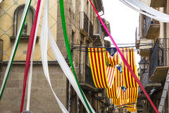 Catalan flags decoration a town in a party Stock Photos