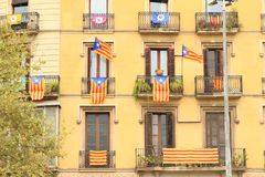 Catalan flags on residence building Royalty Free Stock Photos