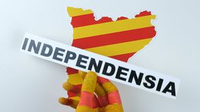Catalan hands illustrate the independence of Catalonia stock footage