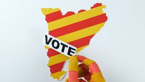 Catalan hands illustrate voting in Catalonia stock video