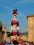 Catalan human tower in Montblanc, Spain stock photo
