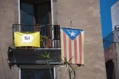 Catalan independence flag. Spain Catalan independence movement flag political symbol Royalty Free Stock Image