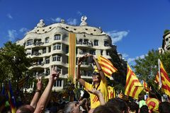 Catalan Independence rally in Barcelona, Spain Stock Images