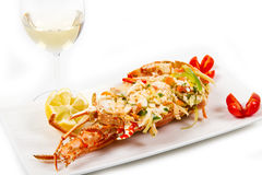 Catalan lobster. A catalan lobsteron white dish Royalty Free Stock Photography