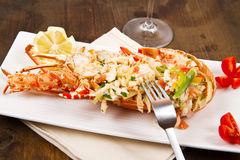 Catalan lobster. A catalan lobster on white dish Royalty Free Stock Image