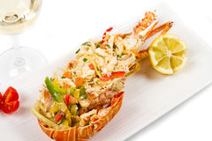 Catalan lobster. On white dish isolated Royalty Free Stock Photography