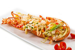Catalan lobster. On white dish isolated Stock Photos
