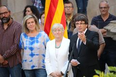 Catalan President Puigdemont receiving population that will help with referendum. BARCELONA/SPAIN - 28 SEPTEMBER 2017: Catalan president Carles Puigdemont Royalty Free Stock Photography