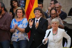 Catalan President Puigdemont receiving population that will help with referendum. BARCELONA/SPAIN - 28 SEPTEMBER 2017: Catalan president Carles Puigdemont Stock Photo