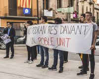 Catalan protest demand for release of jailed independence leaders. Picture of a protest in a Catalan village. They demand for release of jailed Catalan Stock Image