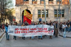 Catalan protest demonstration in Girona, Spain Stock Photos