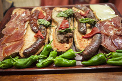 Free Catalan Sandwiches With Jamon And Tomato And Sausage Royalty Free Stock Image - 57655946