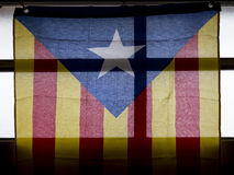 Catalan secessionist flag hanging on a window Stock Images