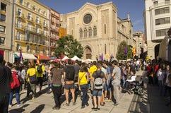 Catalan självständighetdemonstration, Spanien Royaltyfri Bild