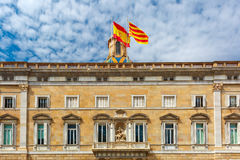 Catalan and Spain flags, Barcelona, Spain Stock Image