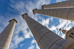 Catalan stark kolonn för symboler fyra på den Montjuic kullen Arkivfoto
