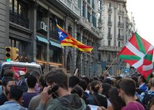 Protests for Catalan Indipendence. Catalonia Referendum: people prostesting in the streets of Barcelona. October 2017. Catalan students protesting in Catalonia Royalty Free Stock Image