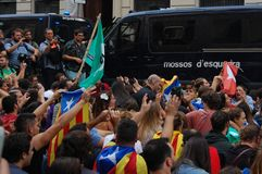 Protests for Catalan Indipendence. Catalonia Referendum: people prostesting in the streets of Barcelona. October 2017. Catalan students protesting in Catalonia Stock Photos