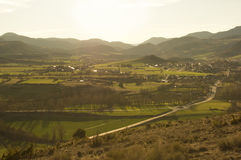 Catalan sunset in Bellver de Cerdanya, Girona, Spain. Beautiful sunset landscape in the mountains in the Catalan Pyrenees. Image taken in spring in Bellver de Stock Image